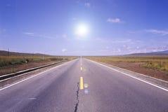 väg straight Arkivfoto