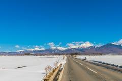 Väg till berget i vintern (Japan) Royaltyfria Bilder
