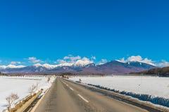 Väg till berget i vintern (Japan) Arkivbild