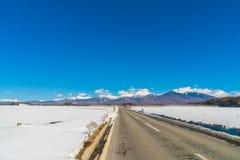 Väg till berget i vintern (Japan) Arkivfoto