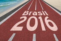 Väg till Brasilien olympiska spel i Rio de Janeiro 2016 Fotografering för Bildbyråer