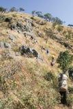 Väg till den nordliga toppmötet av berget Arkivbild
