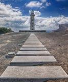 Väg till fyren av Ponta DOS Capelinhos Azores royaltyfria bilder