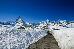 Väg till Matterhorn Arkivbilder