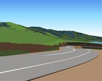 Väg till och med berg stock illustrationer