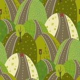 Väg till och med för vektorseamles för gröna kullar klottret för bakgrund för modell det stads- vektor illustrationer