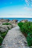 Väg till stranden i Labadee, Haiti royaltyfri fotografi