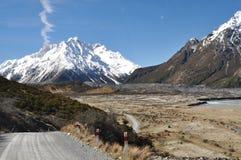 Väg till Tasman glaciär sjön Arkivbild