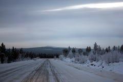 Väg vinter, vindar som är norr, skog, taiga, Sibirien, frost, snö, is, iskallt, halt som är farlig, hastighet, bakgrund, sikter fotografering för bildbyråer