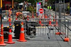 Vägarbete i Christchurch - Nya Zeeland Arkivfoto