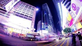 Vägbankfjärdkorsning. Hong Kong Night Timelapse. arkivfilmer