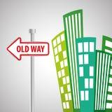 Vägdesign, gata och vägmärkebegrepp, redigerbar vektor Arkivbilder
