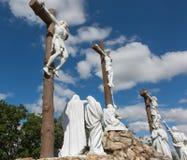 Vägen av korset och calvaryen byggde år sedan vid St Louis Monfor Royaltyfri Foto