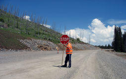 vägen fungerar yellowstone Royaltyfri Fotografi