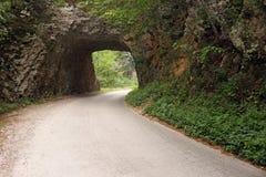 Vägen passerar till och med en gammal stentunnel Royaltyfri Bild