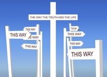 Vägen sanningen och livkorset Arkivbilder