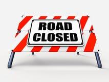 Vägen stängda tecknet föreställer väggspärrbarriären eller stock illustrationer