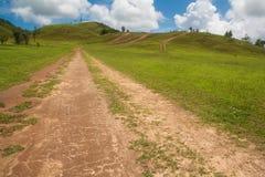 Vägen till berget i bygd med klar himmel Arkivfoto