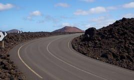 Vägen till El Golfo, Lanzarote Arkivfoto