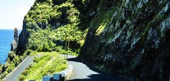 Vägen till och med bergen i norden av ön av madeiran Arkivbild