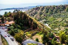 Vägen till Taormina, Sicilien, Italien Arkivfoto