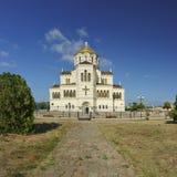 Vägen till Vladimir Cathedral i Chersonesos - den ortodoxa kyrkan av Moskvapatriarchaten på territoriet av Tauric Chersone Fotografering för Bildbyråer