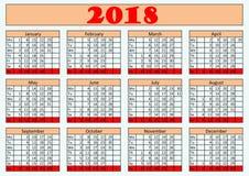 Väggårskalender 2018 för kontor vektor illustrationer
