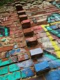 Vägg av abstrakta tegelstenar arkivbild