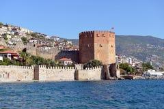 Vägg av den Alanya slotten royaltyfri fotografi