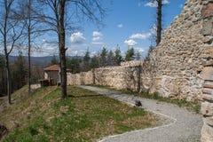 Vägg av den forntida fästningen Tsari akademikra Mali, Sofia Province Royaltyfri Foto