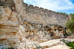 Vägg av den gamla staden av Jerusalem Arkivbild