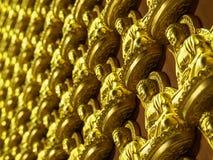 Vägg av den guld- Buddhastatyn på den kinesiska templet Arkivfoto