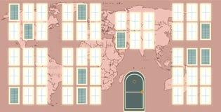 Vägg av ett hus med väggmålningar av världskartan royaltyfri illustrationer