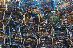 Vägg av färgglade Lobsterpots Royaltyfri Foto