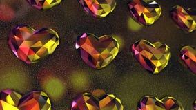 Vägg av färgrik hjärta formade diamanter
