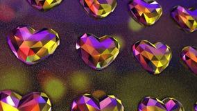 Vägg av flimrande färgrik hjärta formade diamanter