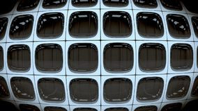 Vägg av fyrkantiga retro vända av skärmar för svartvit TV 3d framför stock illustrationer