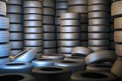 Vägg av gamla bilgummihjul Fotografering för Bildbyråer