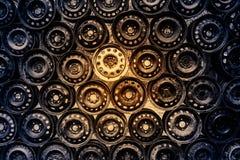 Vägg av gamla hjulkanter royaltyfri foto