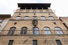 Vägg av Palazzo Davanzati i den Florence staden Royaltyfri Fotografi