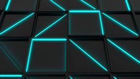 Vägg av svarta rektangeltegelplattor med glödande beståndsdelar för blått stock video