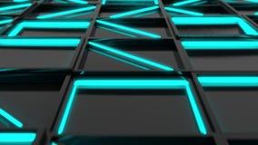 Vägg av svarta rektangeltegelplattor med glödande beståndsdelar för blått arkivfilmer