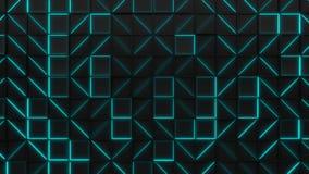 Vägg av svarta rektangeltegelplattor med glödande beståndsdelar för blått lager videofilmer