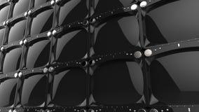 Vägg av svarta skinande TVskärmar stock illustrationer