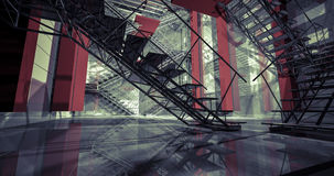 vägg 3d Modern industriell inre, trappa, rengöringutrymme i indu Royaltyfria Bilder