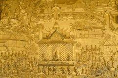 Vägg- detalj på Wat Mai arkivbild