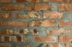 vägg för bakgrundstegelstenhorisontalröd skjuten textur Arkivbild