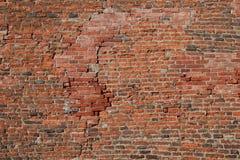 vägg för bakgrundstegelstenhorisontalröd skjuten textur Arkivfoton