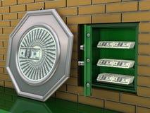 vägg för depositdollarsafe Arkivfoto