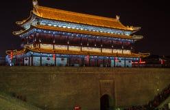 vägg för forntida stad i skarp smakdynastin av den Kina staden i det Shanxi landskapet Arkivbilder